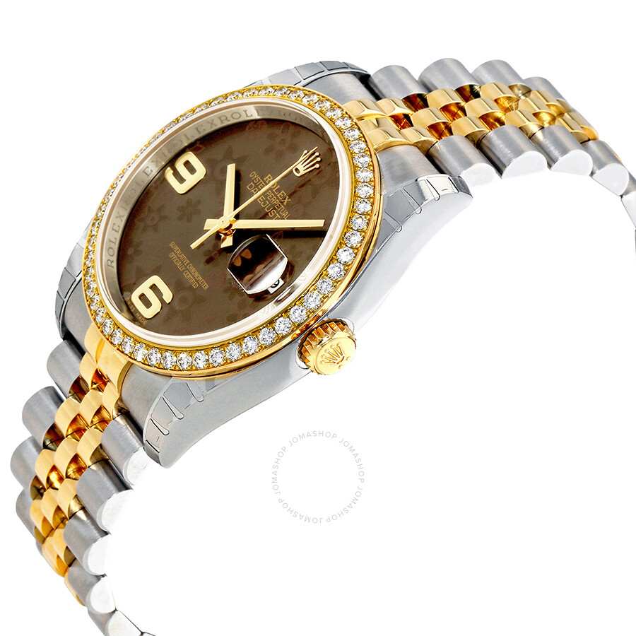 Oyster Perpetual Datejust 36 Brown Floral Dial Stainless Steel and 18K Yellow Gold Jubilee Bracelet Automatic Ladies Watch 116243BRFAJ