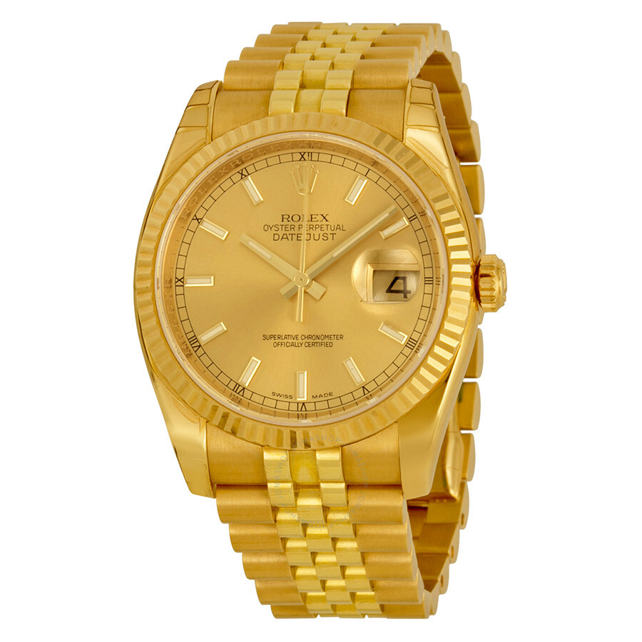 Rolex Datejust Automatic Gold Dial 18kt Yellow Gold Watch 116238csj