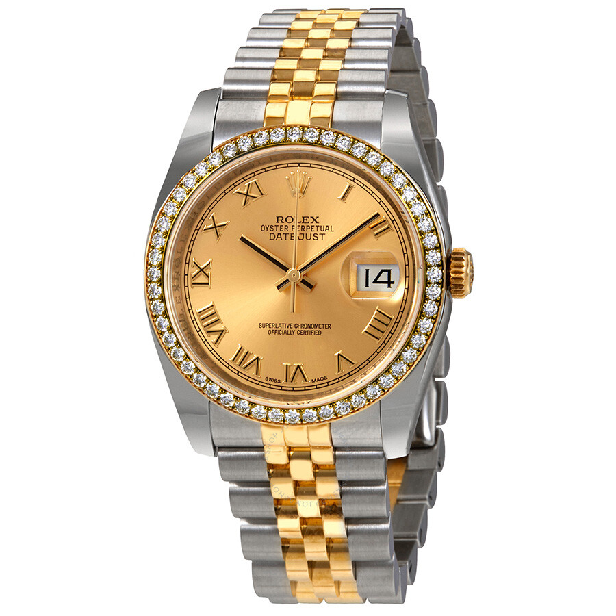 Oyster Perpetual Datejust 36 Champagne Dial Stainless Steel and 18K Yellow Gold Jubilee Bracelet Automatic Ladies Watch 116243CRJ