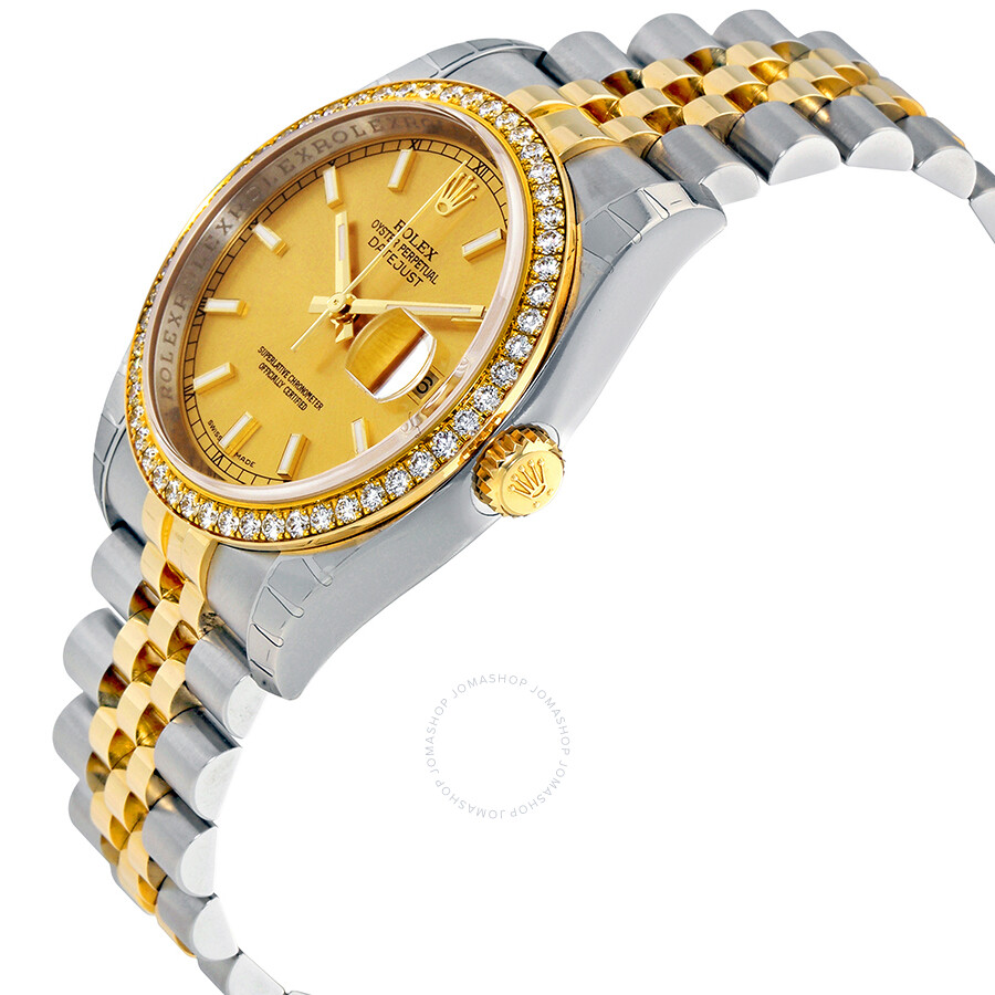 Oyster Perpetual Datejust 36 Champagne Dial Stainless Steel and 18K Yellow Gold Jubilee Bracelet Automatic Ladies Watch 116243CSJ