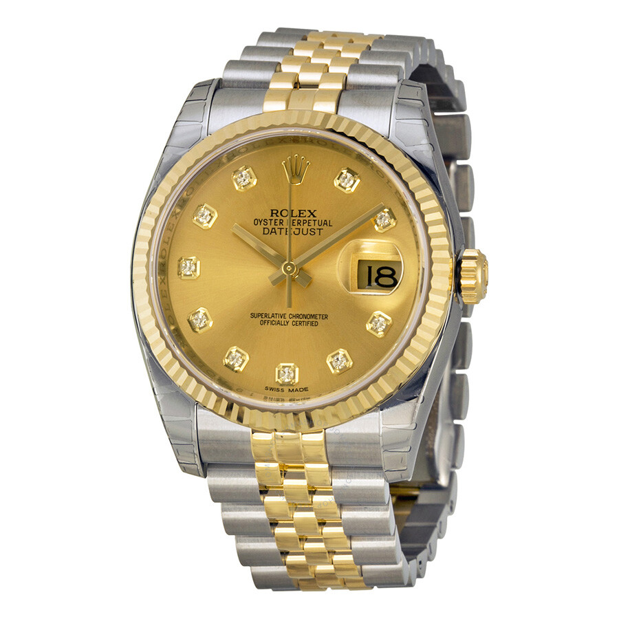 Rolex Oyster Perpetual Datejust 36 Champagne Dial Stainless Steel And 18k Yellow Gold Jubilee Bracelet Automatic