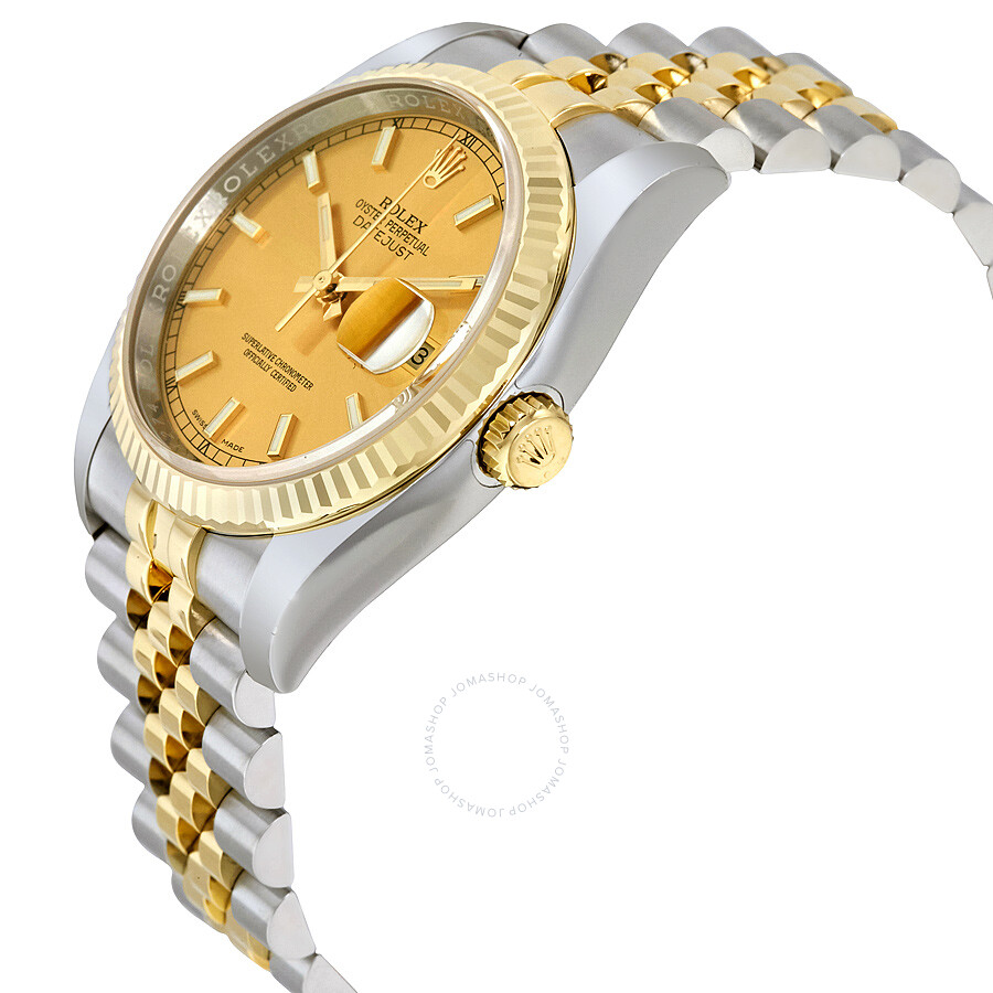 Rolex datejust champagne index dial jubilee bracelet two tone men 39 s watch 116233csj datejust for Jubilee watch