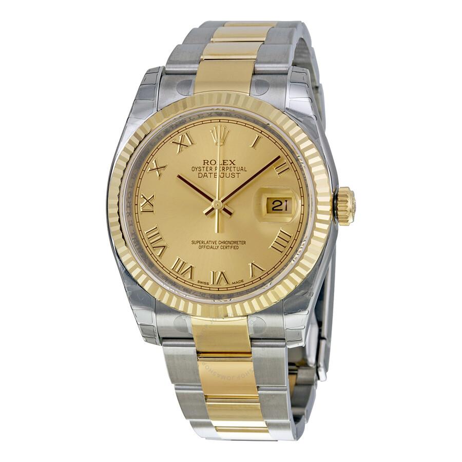 rolex datejust champagne roman oyster bracelet two tone men 39 s watch 1162333cro datejust. Black Bedroom Furniture Sets. Home Design Ideas