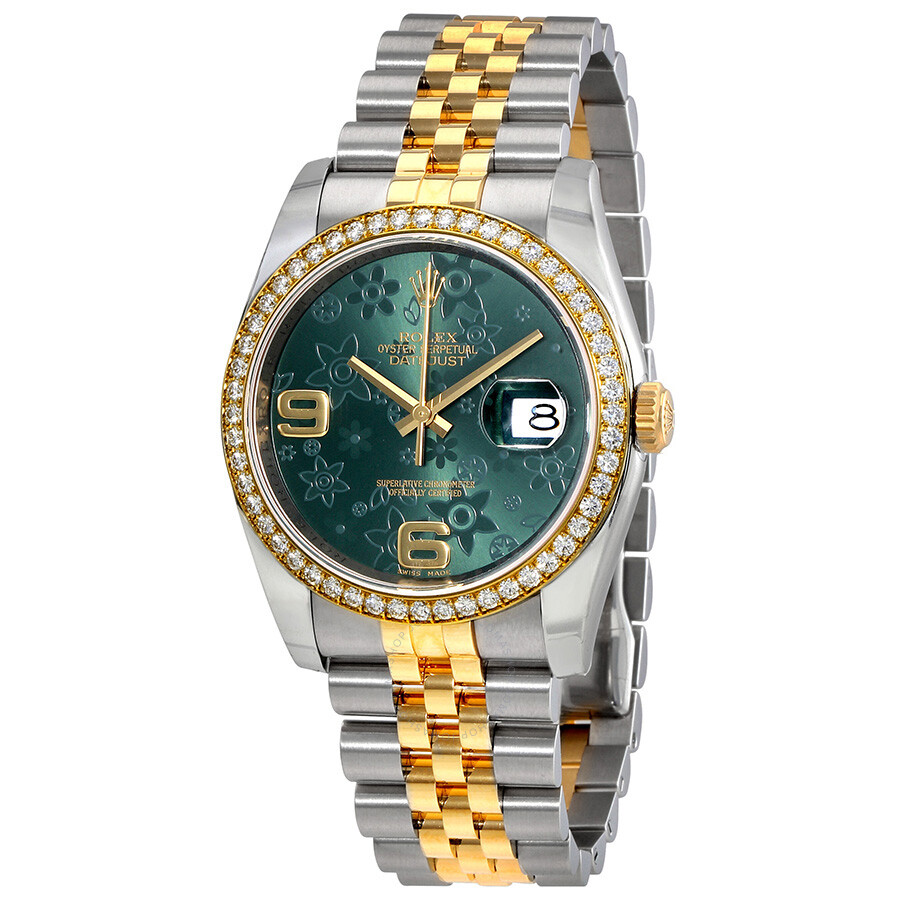 Rolex Oyster Perpetual Datejust 36 Green Floral Dial Stainless Steel and  18K Yellow Gold Jubilee Bracelet Automatic Ladies Watch 116243GRFAJ