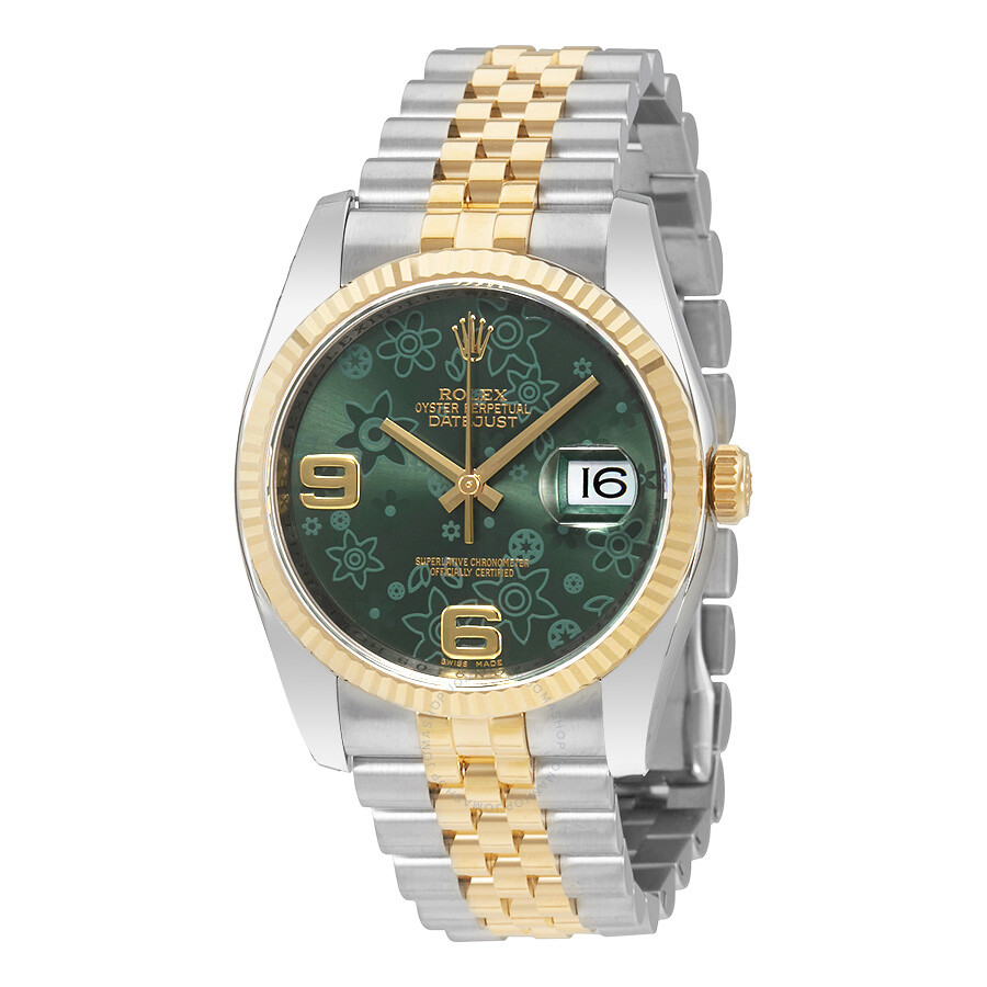 Rolex Oyster Perpetual Datejust 36 Green Floral Dial Steel and 18K Yellow  Gold Jubilee Unisex Watch 116233GNFAJ