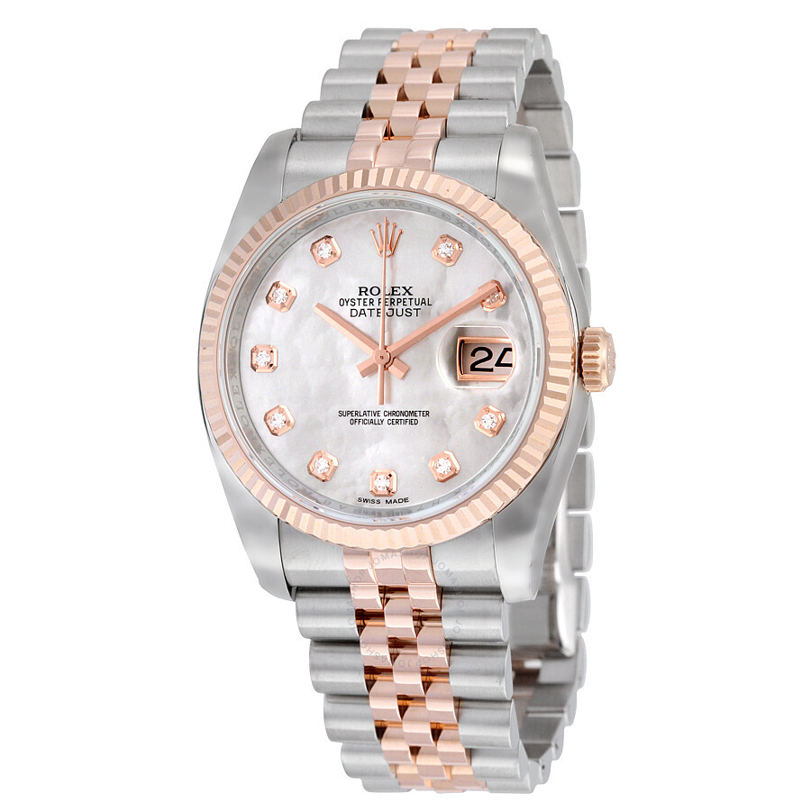 4949d3d2302 Rolex Oyster Perpetual Datejust 36 Mother of Pearl Dial Stainless Steel and  18K Everose Gold Jubilee ...