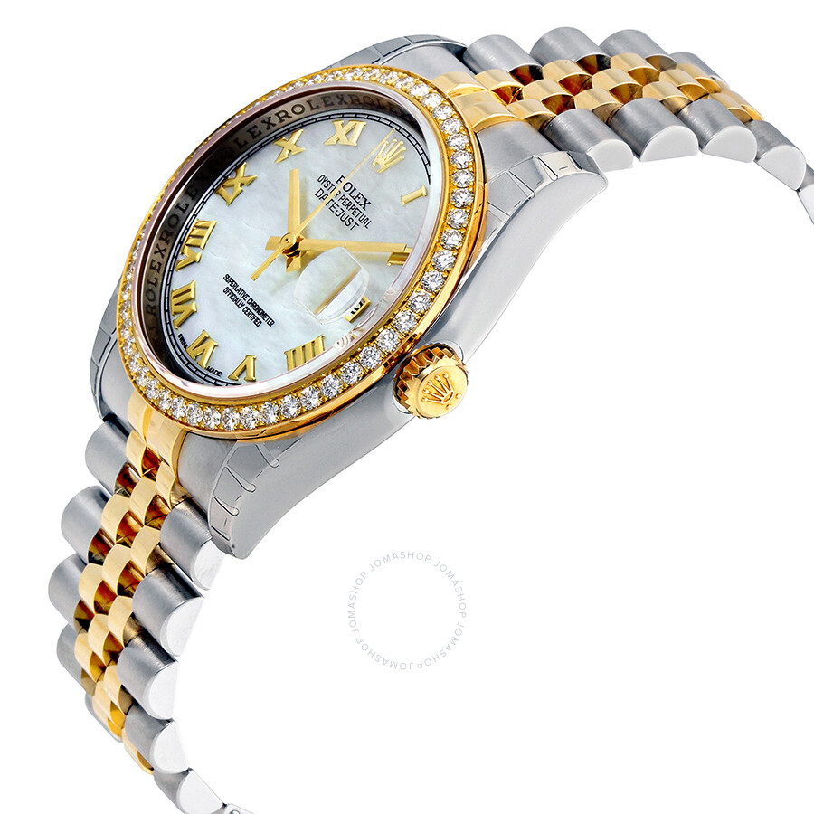 284a60cf030 ... Rolex Oyster Perpetual Datejust 36 Mother of Pearl Dial Stainless Steel  and 18K Yellow Gold Jubilee ...