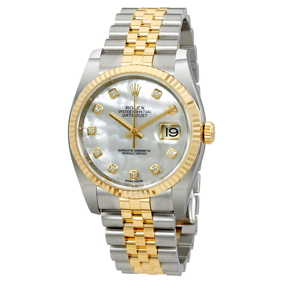 Rolex Oyster Perpetual Datejust 36 Mother of Pearl Dial Stainless Steel and  18K Yellow Gold Jubilee ... 3774dd3b366d