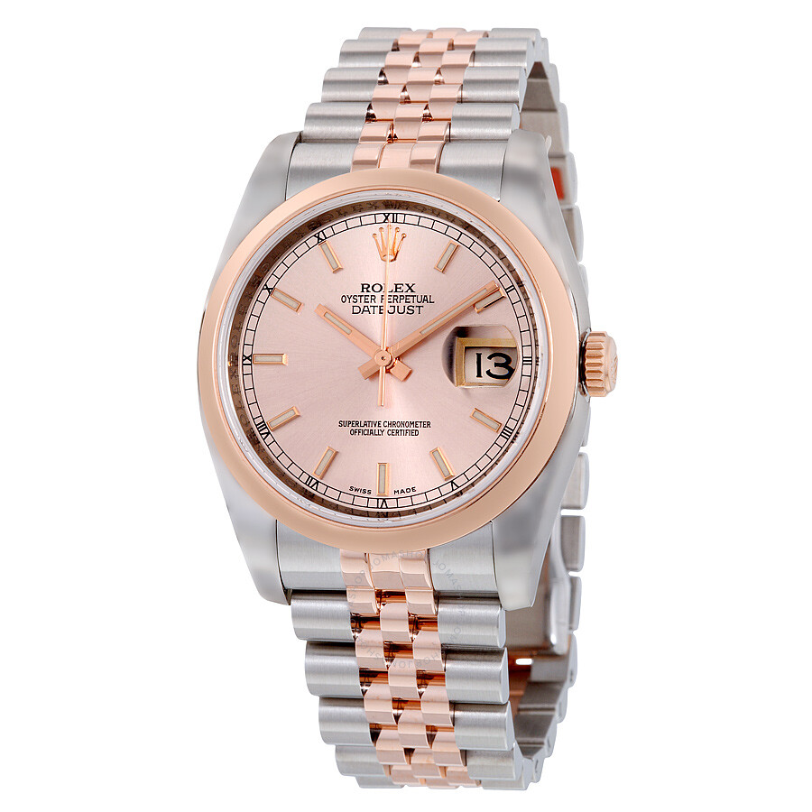df5c0daeff7 Rolex Oyster Perpetual Datejust 36 Pink Dial Stainless Steel and 18K  Everose Gold Jubilee Bracelet Automatic ...
