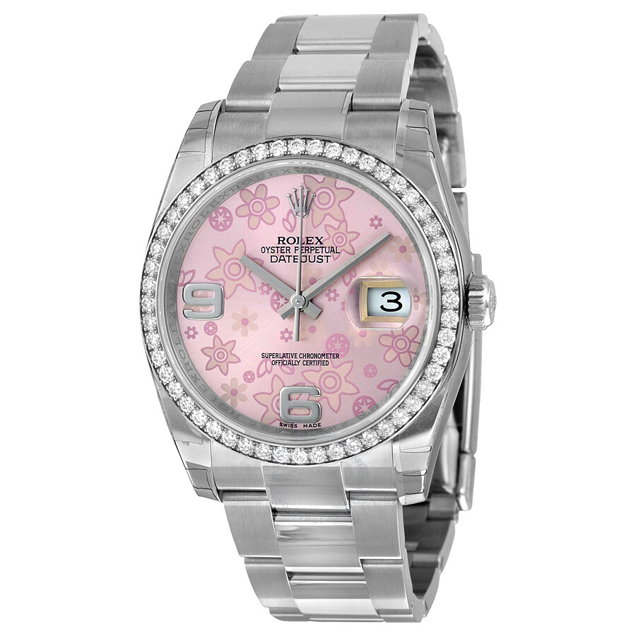 Rolex Oyster Perpetual Datejust 36 Pink Floral Dial Stainless Steel  Bracelet Automatic Ladies Watch 116244PFAO ... d550f3ad54