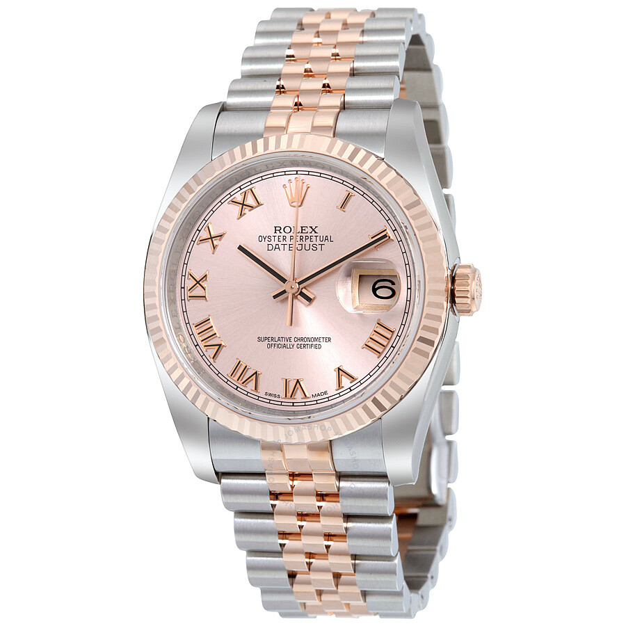 Rolex Oyster Perpetual Datejust 36 Rose Dial Stainless Steel And 18k Everose Gold Jubilee Bracelet Automatic Men S Watch 116231prj