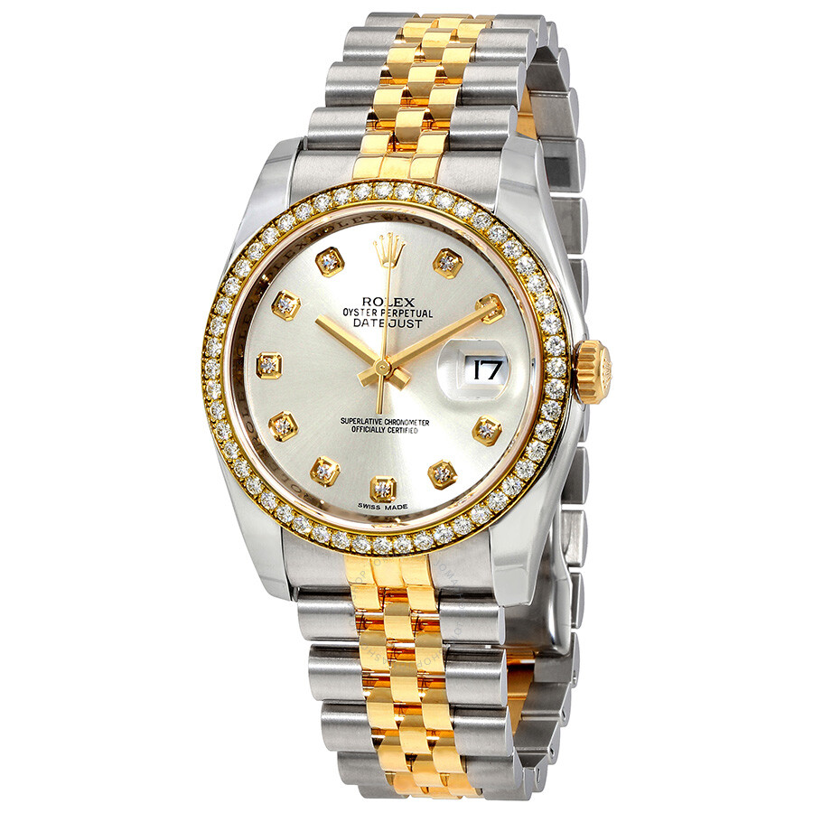 Rolex oyster perpetual datejust 36 silver dial stainless steel and 18k yellow gold jubilee for Oyster watches