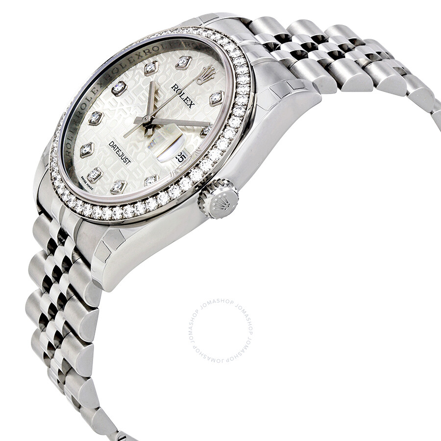 Rolex datejust silver jubilee diamond dial and bezel jubilee bracelet men 39 s watch 116244sjdj for Jubilee watch