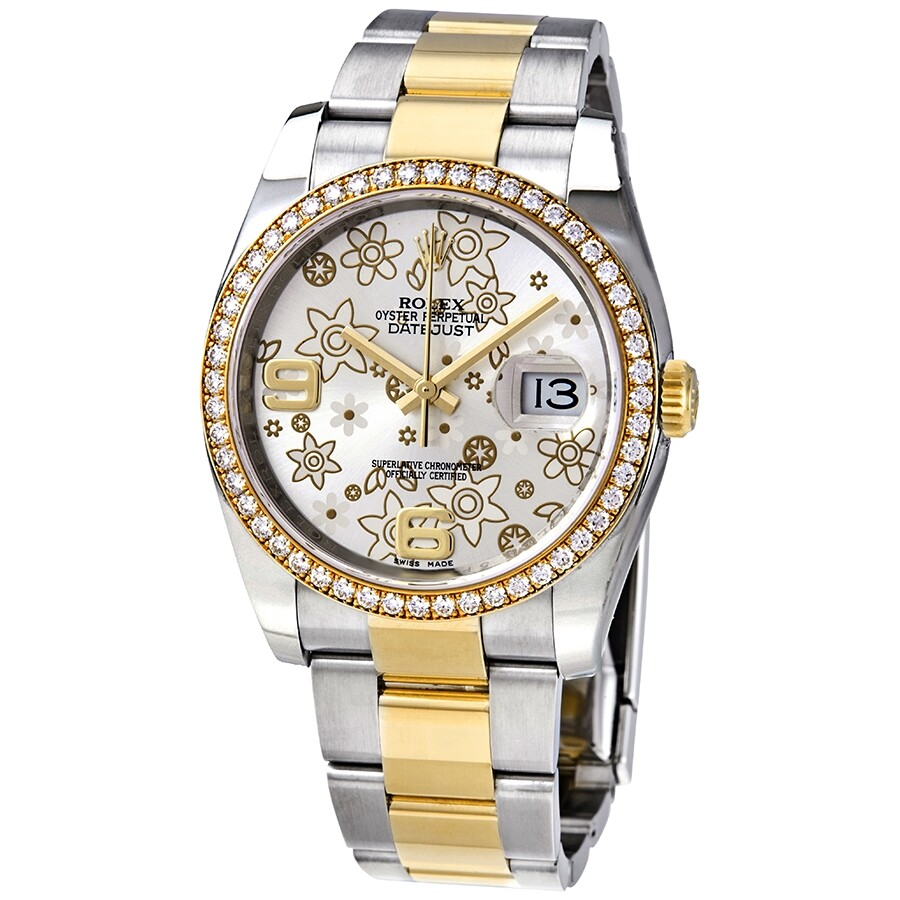 Rolex Oyster Perpetual Datejust 36 Silver Floral Dial Stainless Steel and  18K Yellow Gold Bracelet Automatic Ladies Watch 116243SFAO