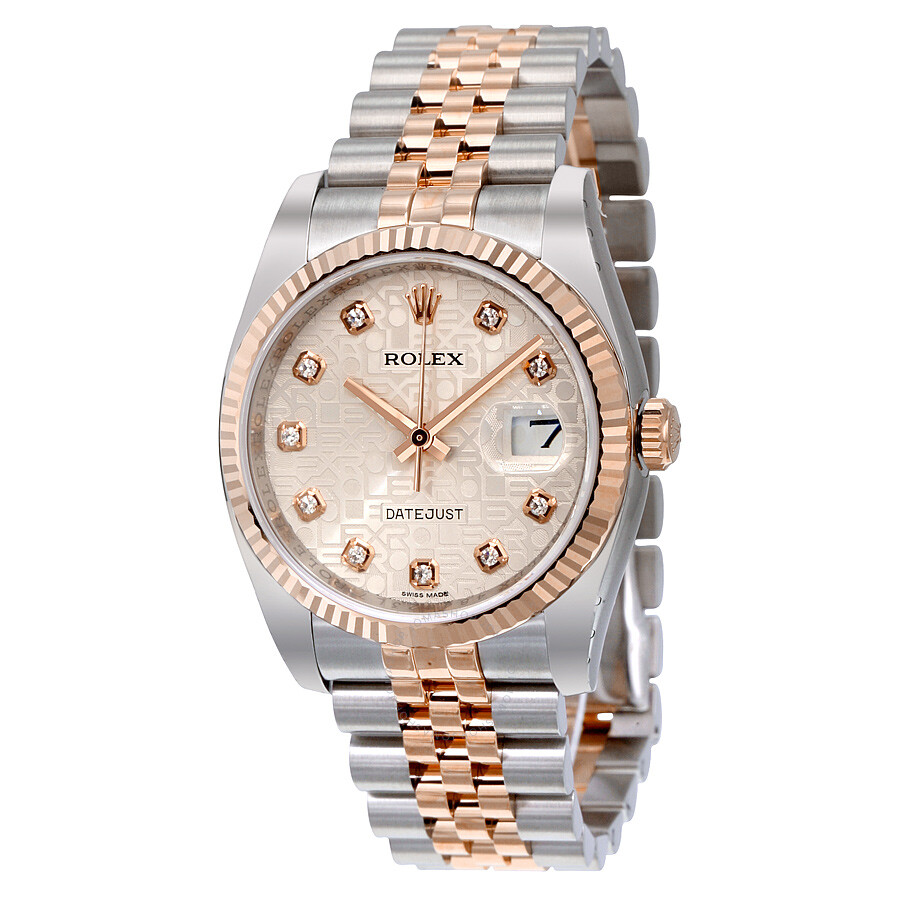 Rolex datejust silver jubilee diamond dial fluted 18k rose gold bezel jubilee bracelet men 39 s for Jubilee watch