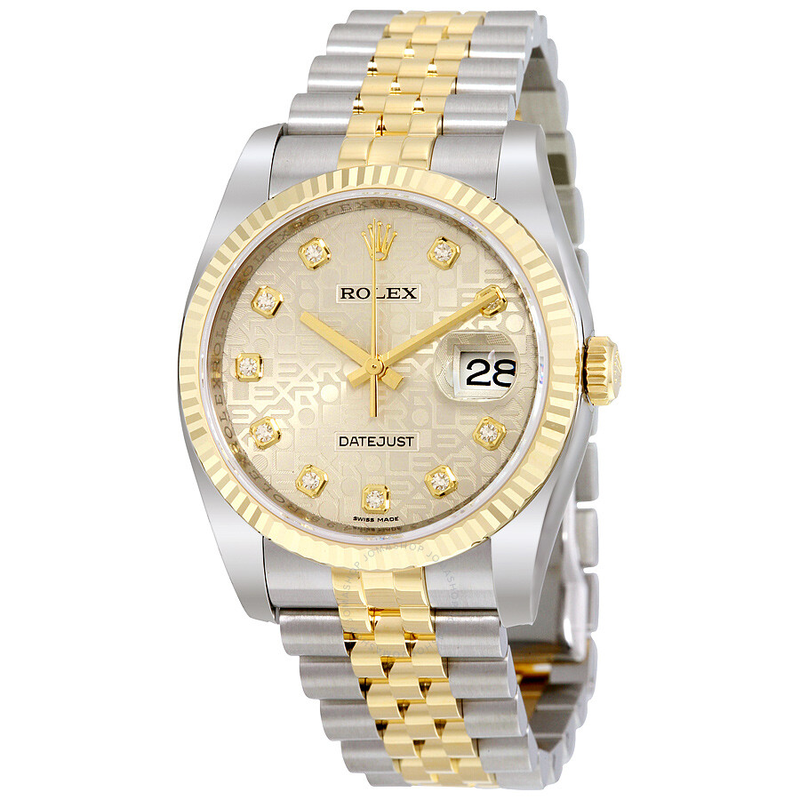 rolex oyster perpetual datejust 36 silver with 10 diamonds