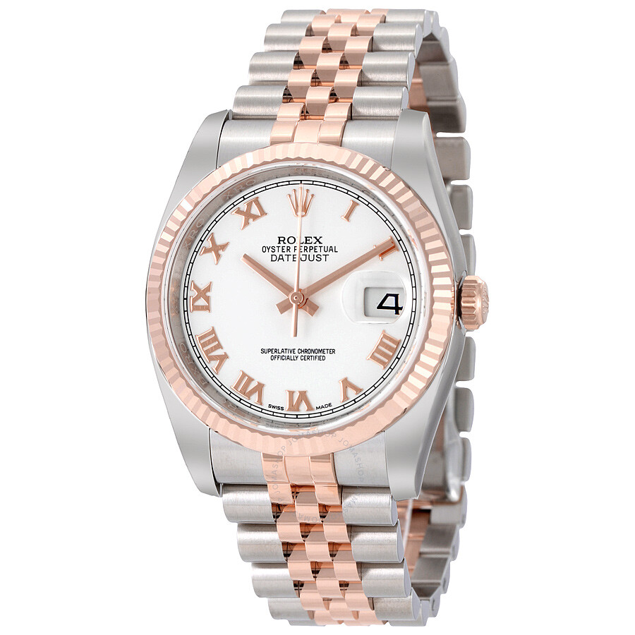 Rolex Oyster Perpetual Datejust 36 White Dial Stainless Steel And 18k Everose Gold Jubilee Bracelet Automatic