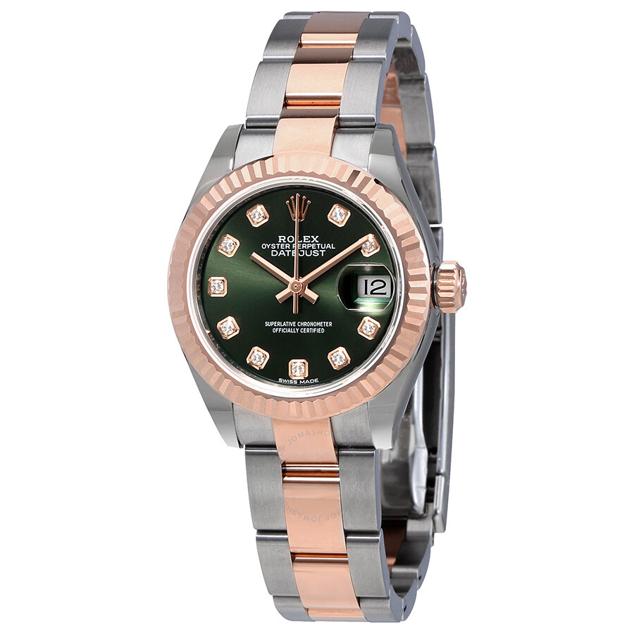 Rolex oyster perpetual datejust olive green diamond dial ladies oyster watch 279171odo lady for Oyster watches