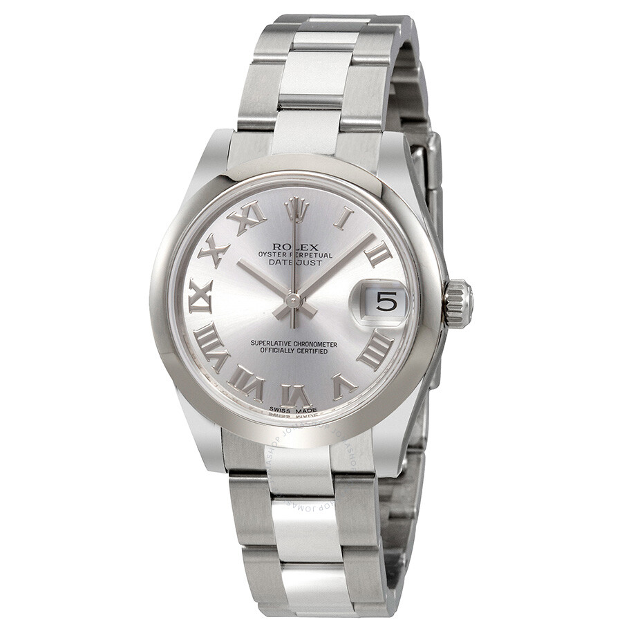 Rolex oyster perpetual datejust rhodium dial automatic ladies stainless steel watch 178240rro for Stainless steel watch