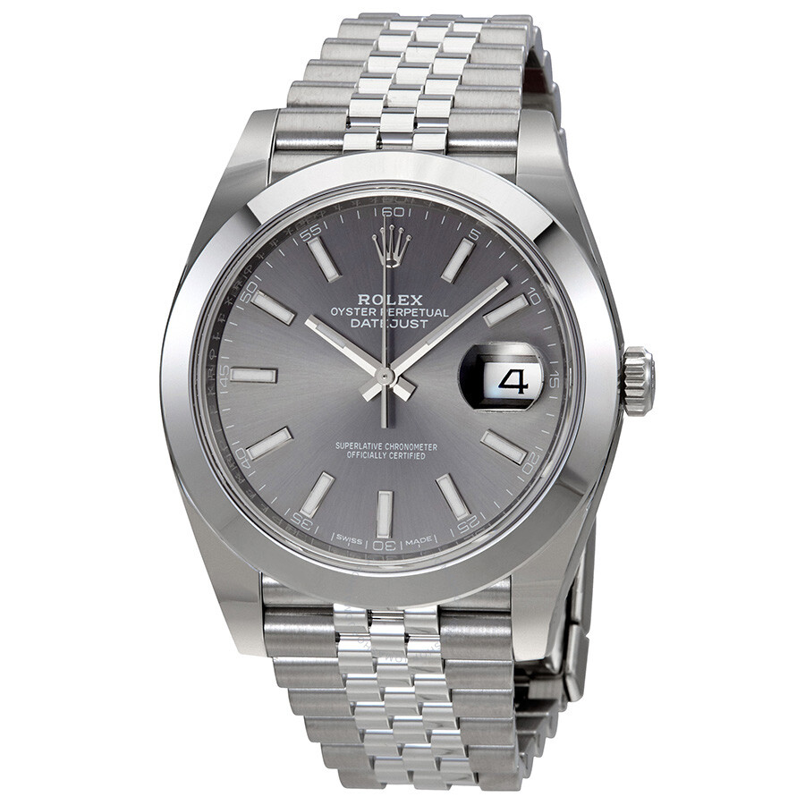 Rolex oyster perpetual datejust rhodium dial automatic men 39 s jubilee watch 126300rsj oyster for Jubilee watch