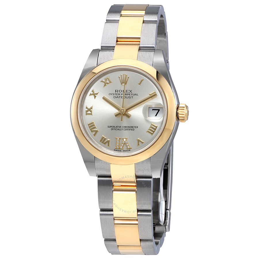 Rolex Oyster Perpetual Datejust Silver Diamond Dial Automatic Ladies Watch 178243srdo