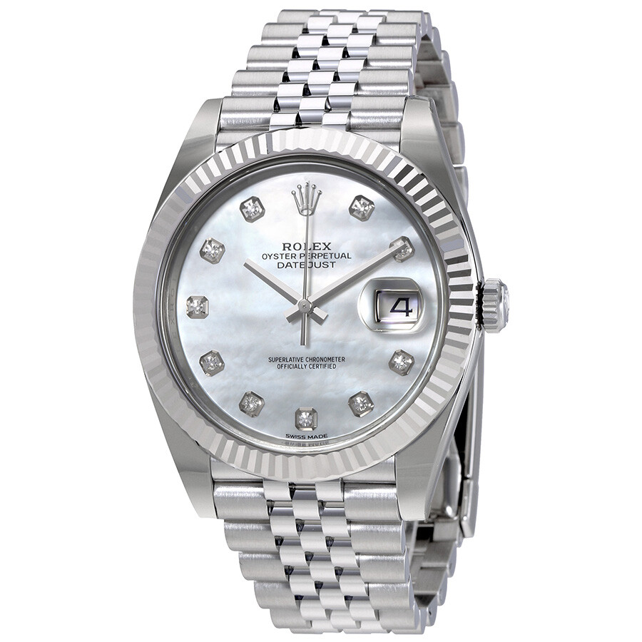 Rolex Oyster Perpetual Datejust White Mother Of Pearl Diamond Dial Men S Watch 126334mdj