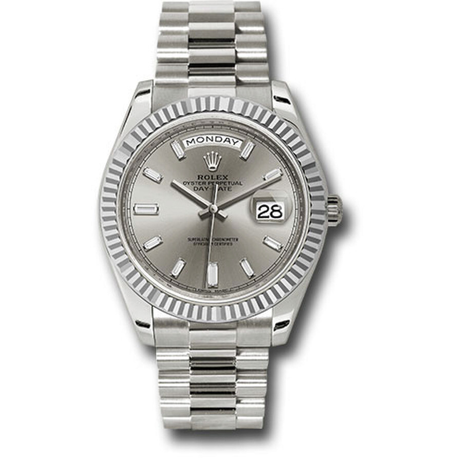 Rolex Oyster Perpetual Day,Date Silver Diamond Dial Automatic Men\u0027s 18  Carat White Gold President Watch 228239SDP