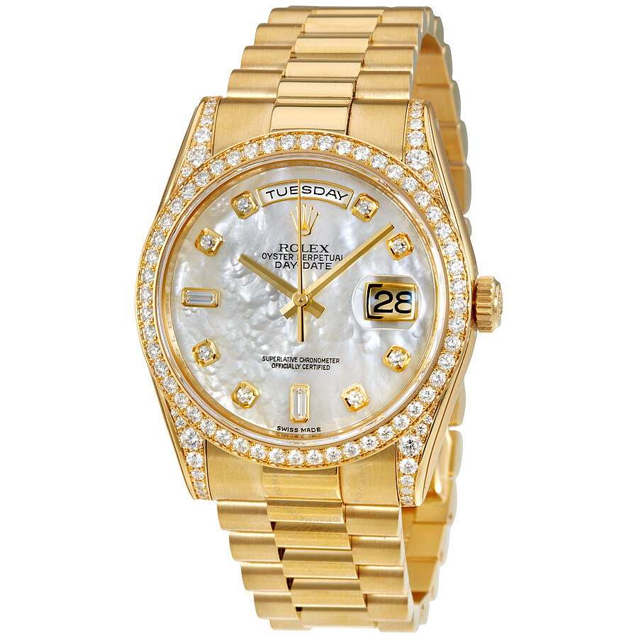 Rolex Oyster Perpetual Mother of Pearl Diamond 18K Yellow Gold Ladies Watch  118388MDP ... 5382e57ff44c