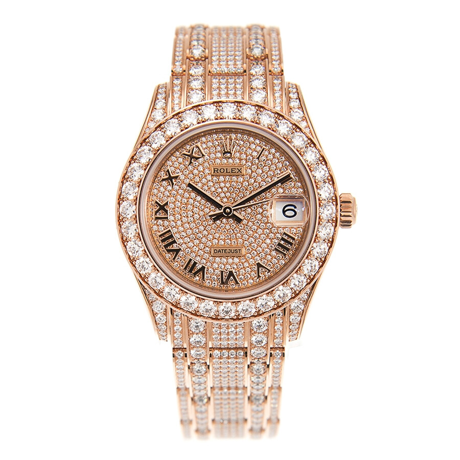 Rolex Pearlmaster 34 Rose Gold Diamond Paved Watch 81405rbr,0001