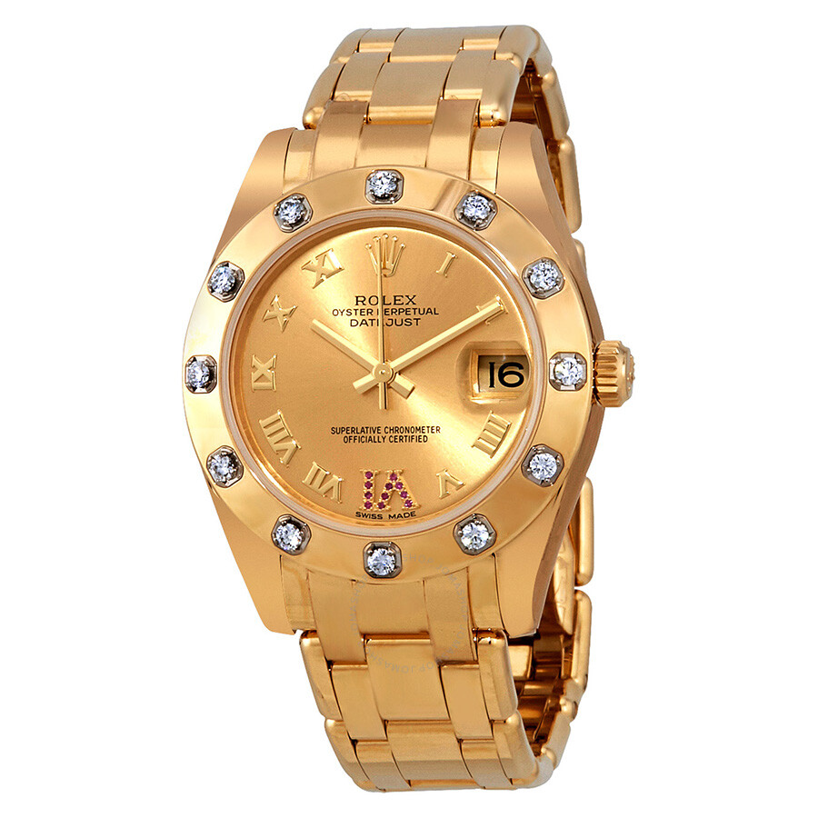 Rolex pearlmaster champage dial diamond ladies watch 81318crdp oyster perpetual 34 oyster for Rolex pearlmaster