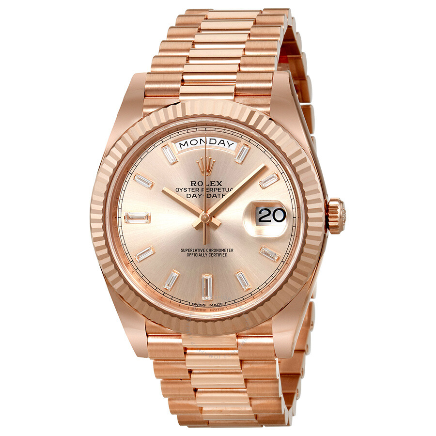 Rolex President Day Date Rose Dial Men S Watch 228235sndp