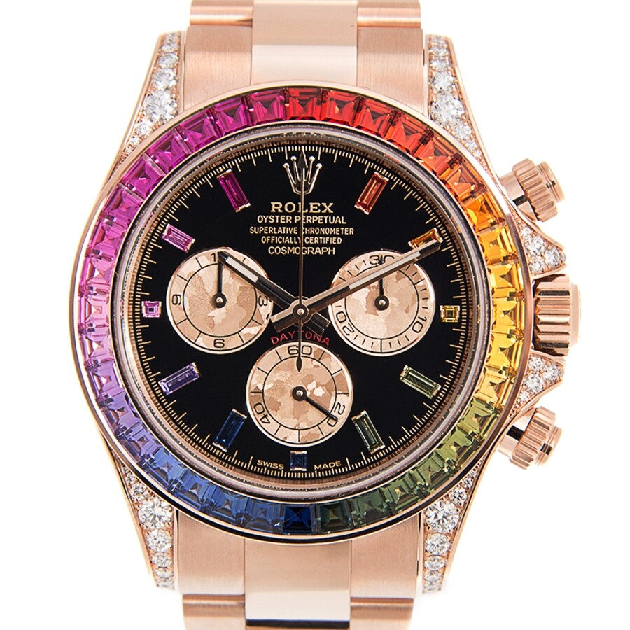 Rolex Rainbow Sapphire Daytona Chronograph Automatic Chronometer Diamond  Black Dial Unisex Watch 116595 RBOW,0001