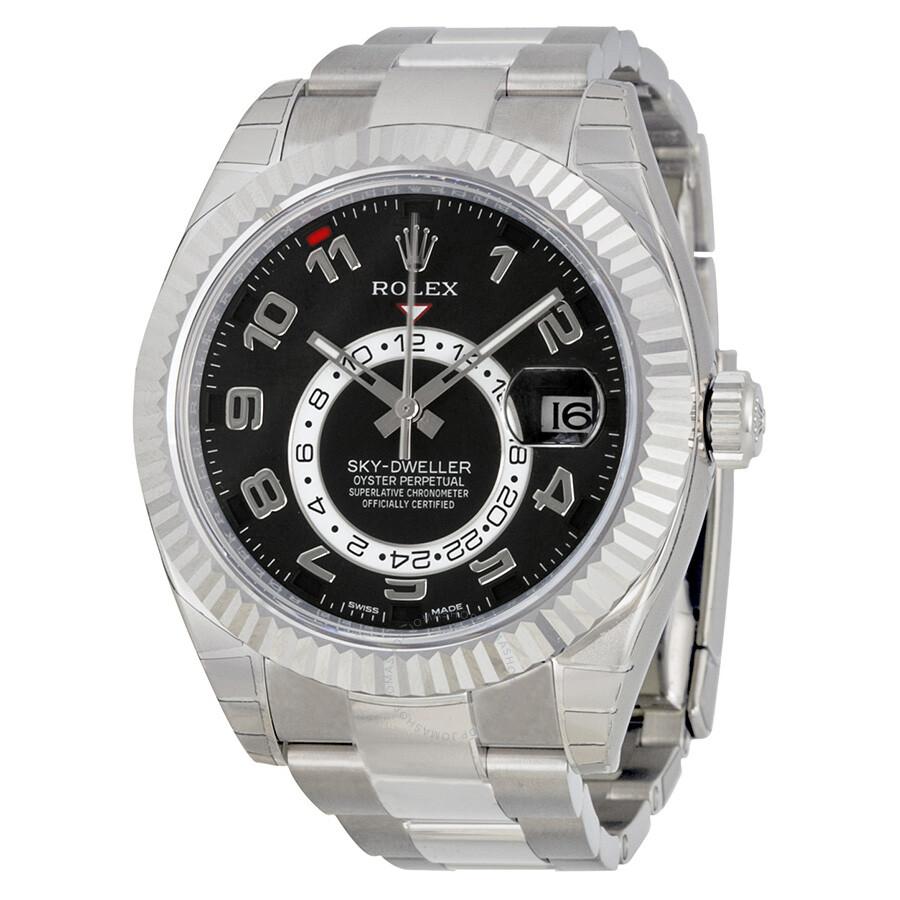 Rolex Sky Dweller Black Dial 18K White Gold Oyster Bracelet Automatic Men\u0027s  Watch 326939BKAO
