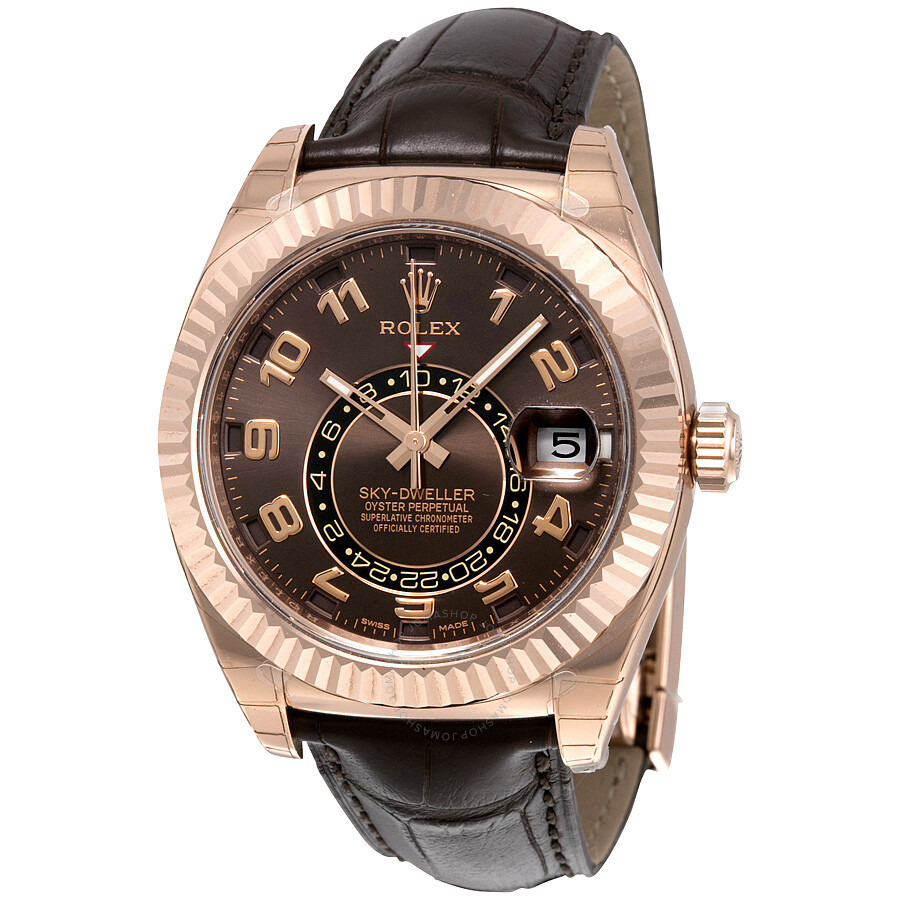 Rolex Sky Dweller Brown Dial GMT 18k Rose Gold Leather Men\u0027s Watch  326135BRAL