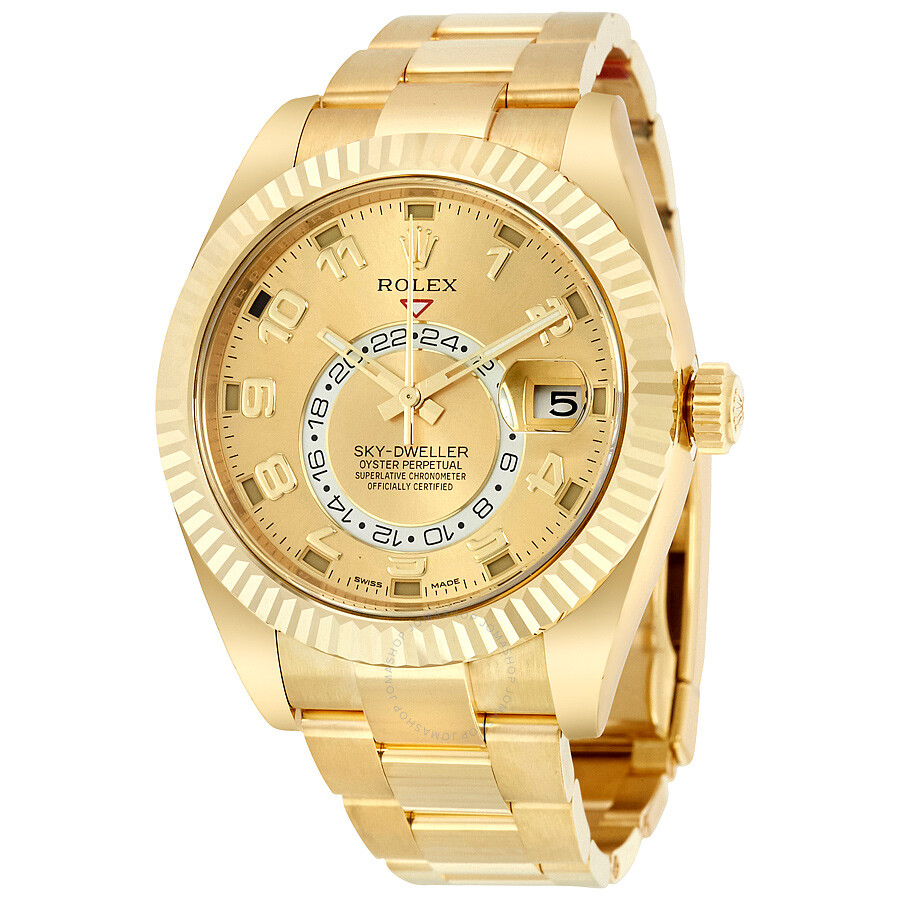 Rolex sky dweller champagne dial 18k yellow gold oyster bracelet automatic men 39 s watch 326938cao for Rolex watch