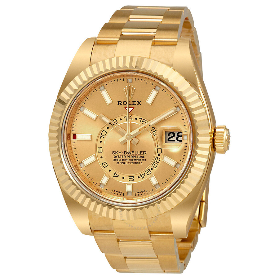 Rolex Sky,Dweller Champagne Dial Automatic Men\u0027s 18kt Yellow Gold Oyster  Watch 326938CSO