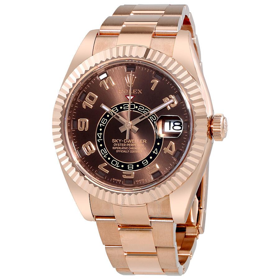 Rolex Sky Dweller Chocolate Dial 18K Everose Gold Oyster Bracelet Automatic  Men\u0027s Watch 326935CHAO