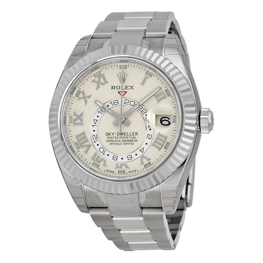505c34a01db Rolex Sky Dweller Ivory Dial 18K White Gold Oyster Bracelet Automatic Men s  Watch 326939IVRO ...