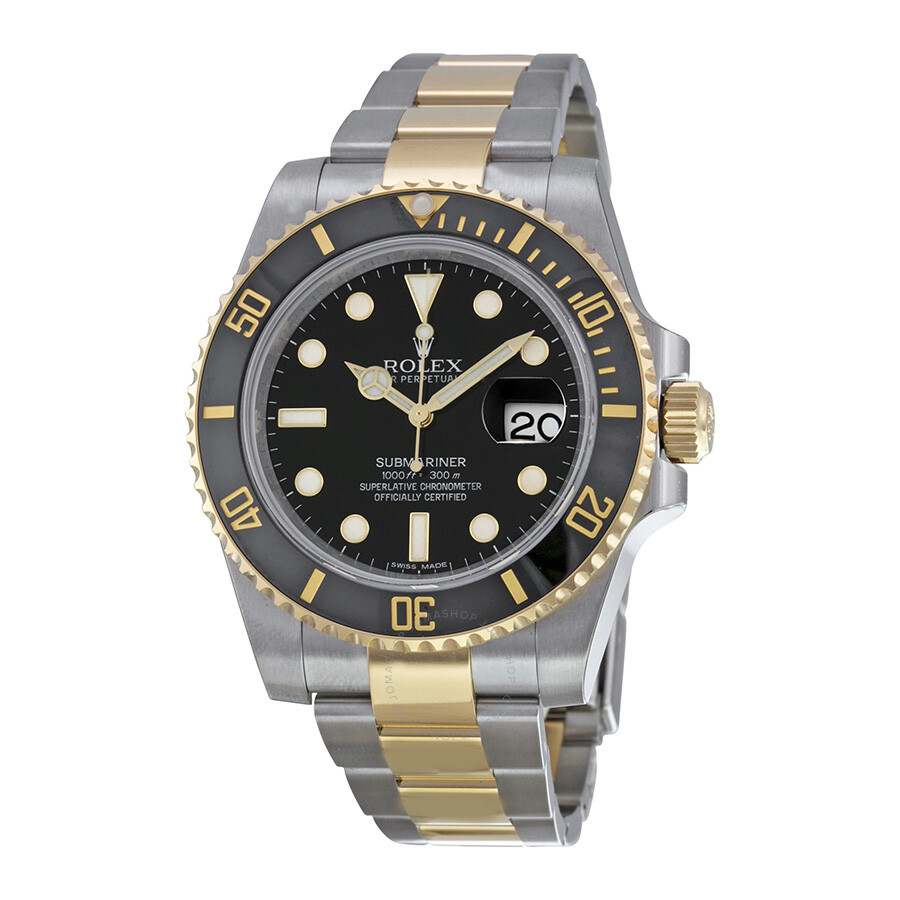 Rolex Submariner Black Dial Stainless Steel and 18K Yellow Gold Oyster  Bracelet Automatic Men\u0027s Watch 116613BKSO