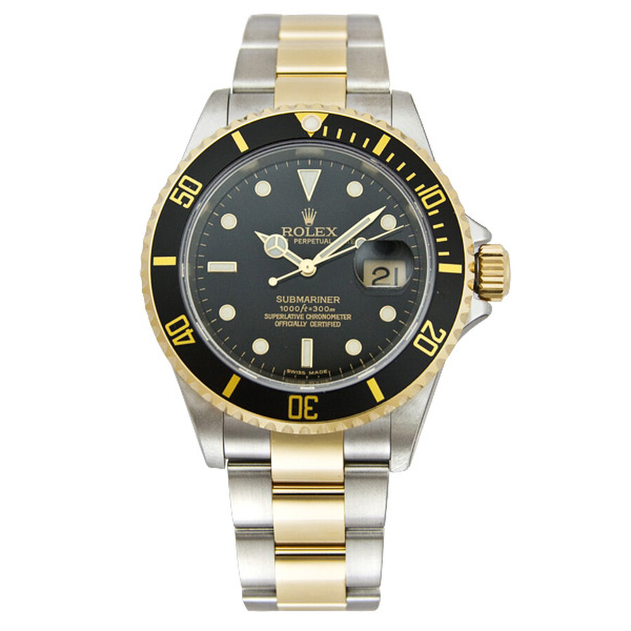 Rolex Submariner Black Dial Stainless steel and 18K Yellow Gold Oyster  Bracelet Automatic Men\u0027s Watch 16613BKSO