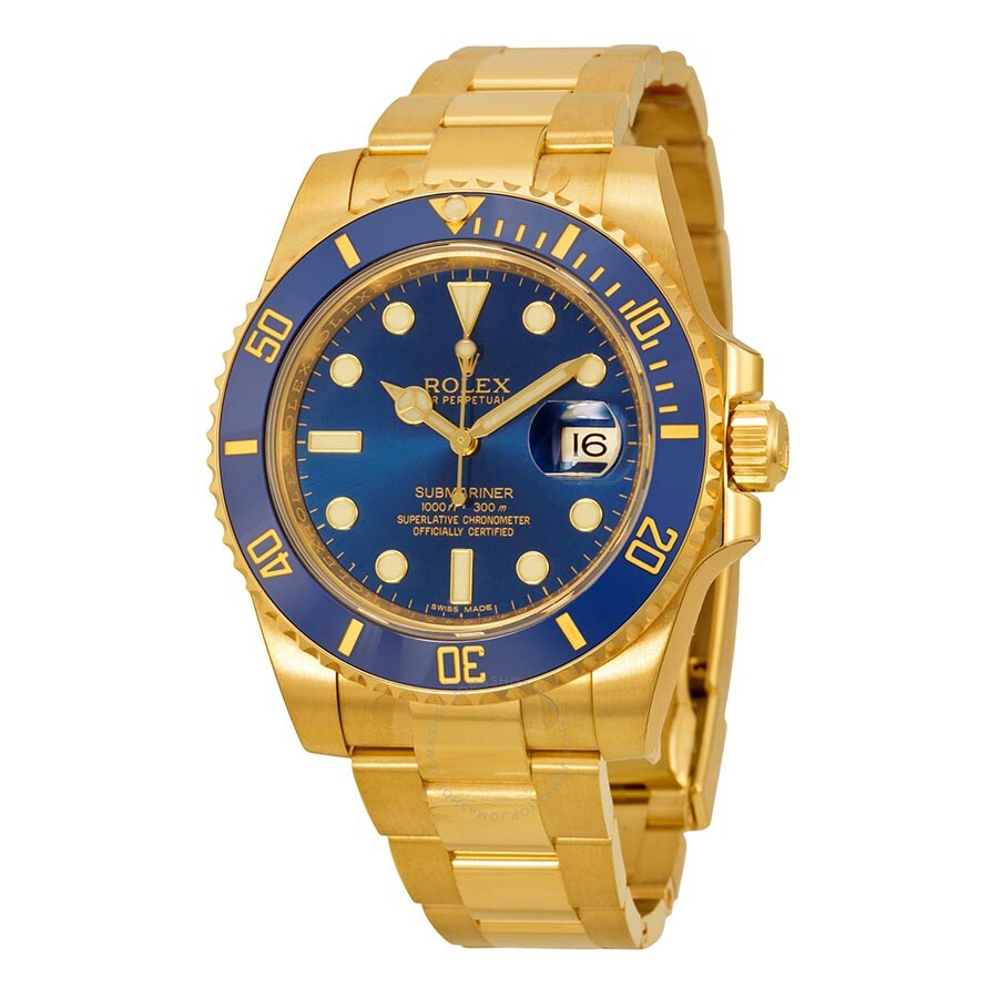 rolex watches jomashop rolex submariner blue dial 18kt yellow gold oyster bracelet men s watch 116618blso
