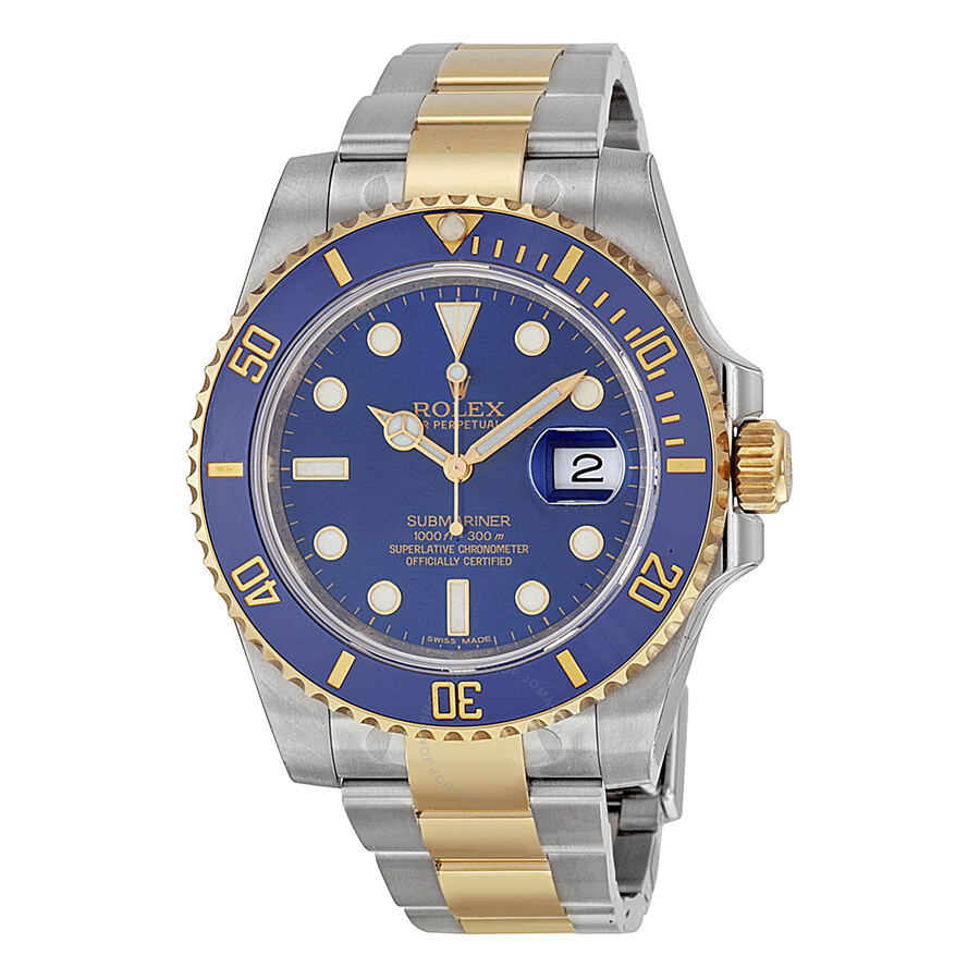 Rolex submariner blue dial stainless steel and 18k yellow gold bracelet automatic men 39 s watch for Submarine watches