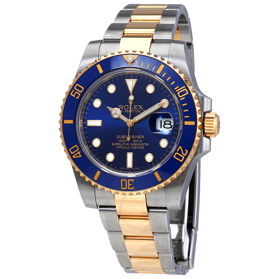 Rolex Submariner Blue Dial Stainless Steel And 18k Yellow Gold Rolex Oyster Automatic Men S Watch 116613blso