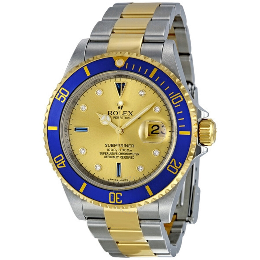 Rolex Submariner Champagne Diamond and Sapphire Dial 18k Yellow Gold Men\u0027s  Watch 16613CDO