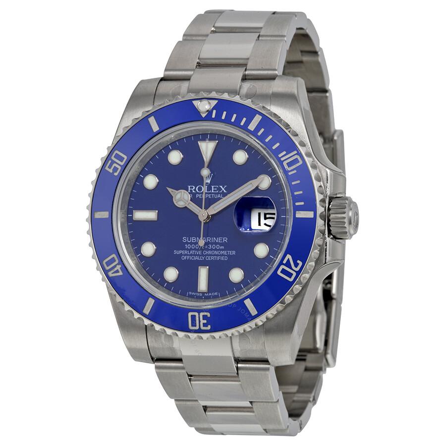 rolex watches jomashop rolex submariner blue index dial oyster bracelet 18kt white gold men s watch 116619blso