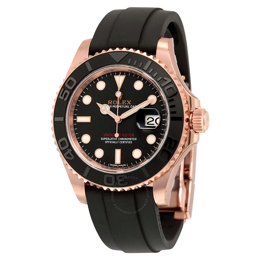 rolex yacht master automatic black dial 18kt everose gold black rubber strap mens watch 116655bksrs