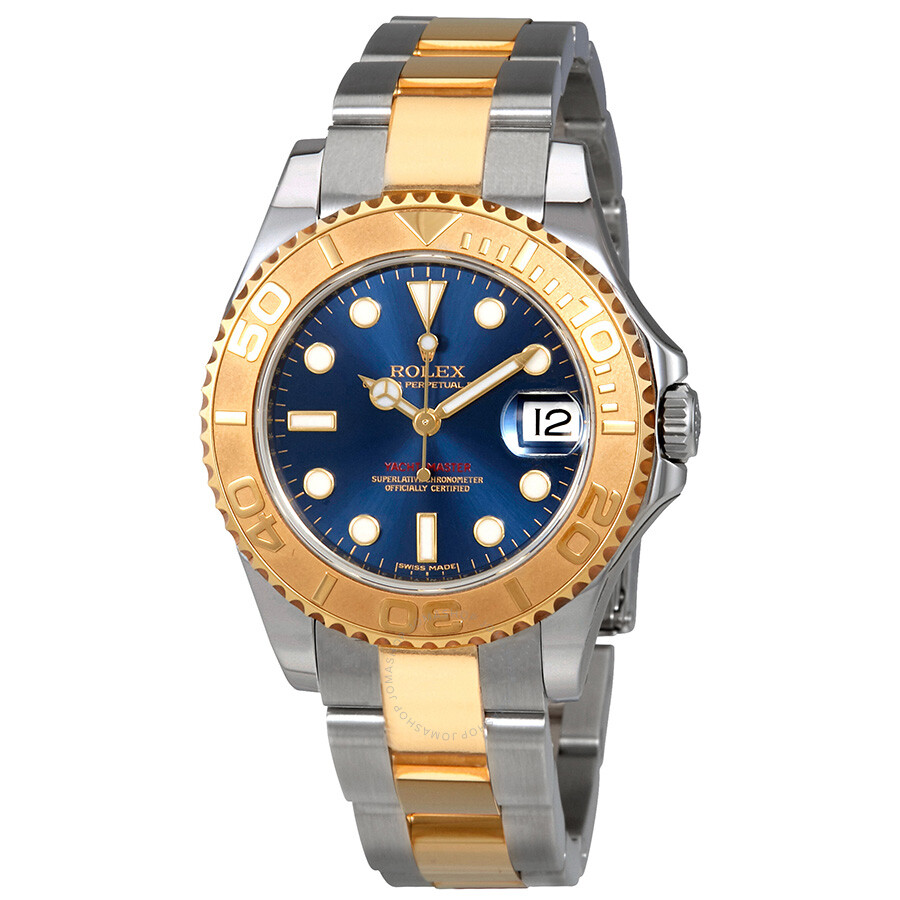 Rolex Yacht,Master Blue Dial Stainless Steel and 18K Yellow Gold Oyster  Bracelet Automatic Unisex Watch 168623BLSO