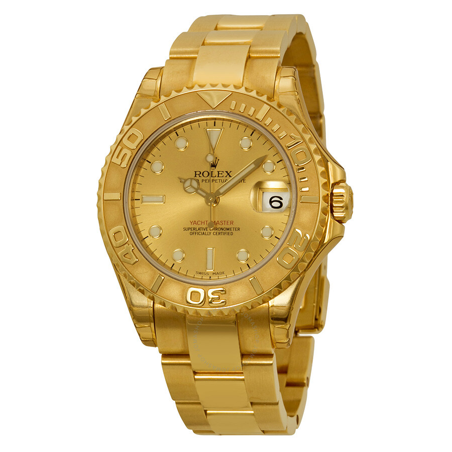 rolex yachtmaster gold dial 18k yellow gold oyster