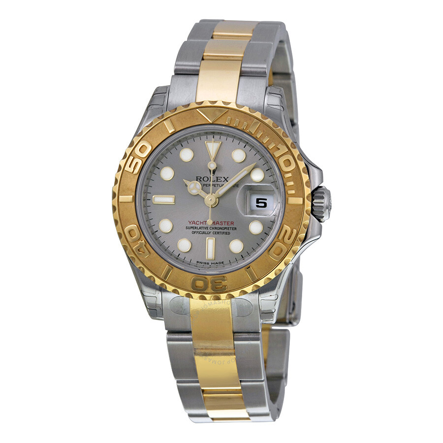 rolex yacht master grey dial stainless steel and 18k. Black Bedroom Furniture Sets. Home Design Ideas