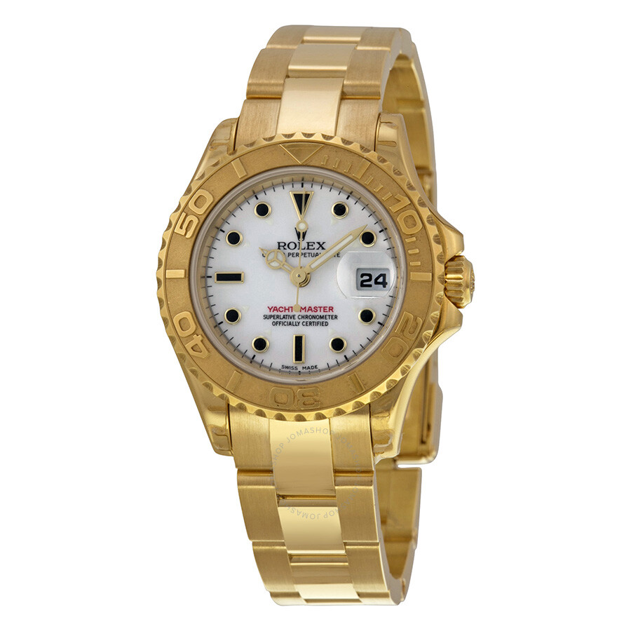 Rolex Yacht-Master White Dial 18K Yellow Gold Rolex Oyster Automatic Ladies Watch ...